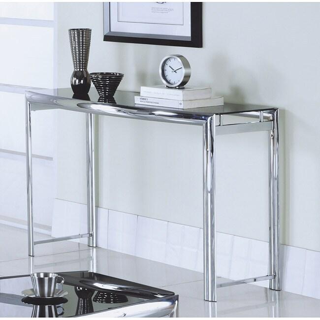 Chrome Metal / Black Tempered Glass Sofa Table