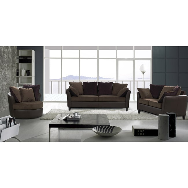 Tucana 3-piece Two-tone Sofa Set with Swivel Chair