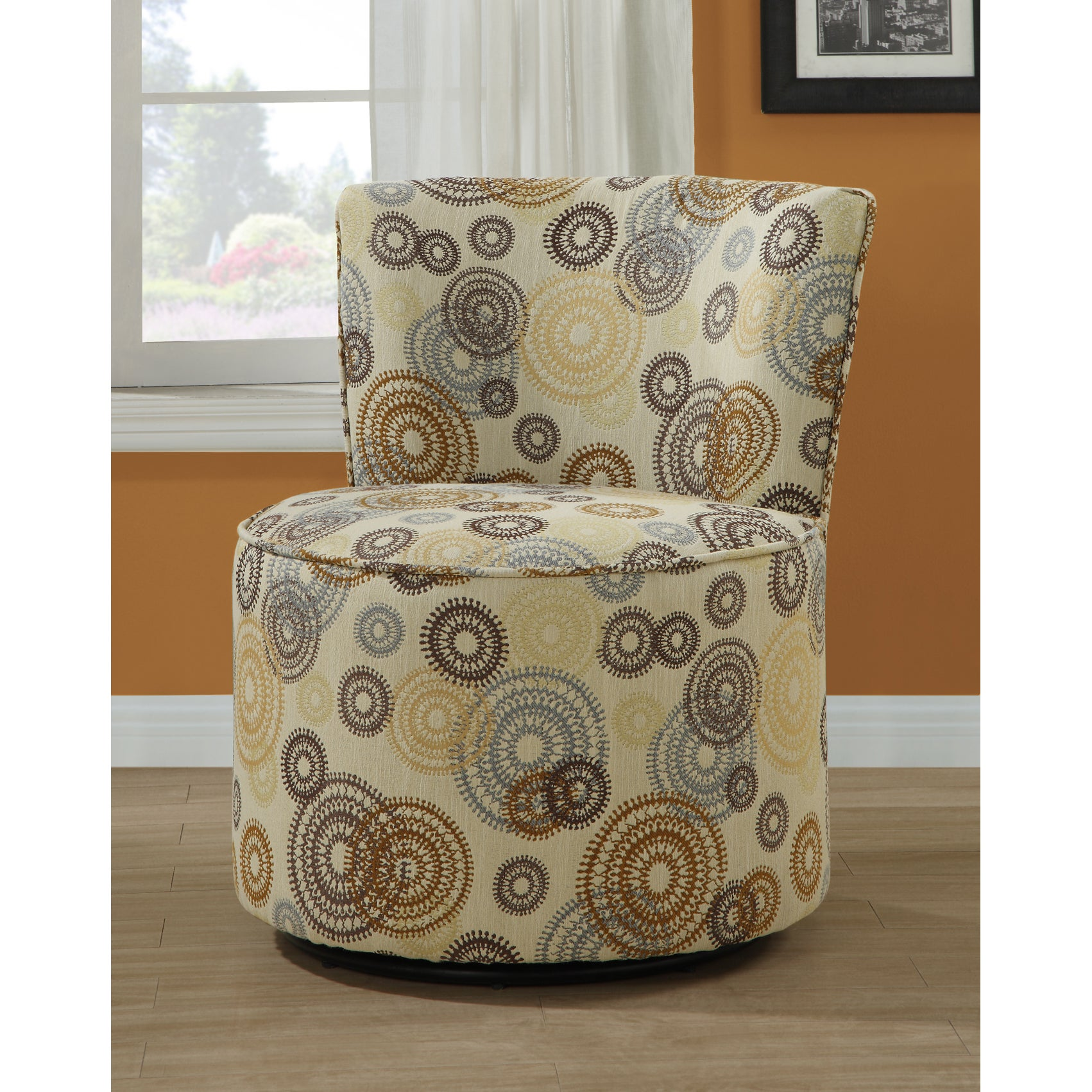 Circular Earth Tone Fabric Accent Chair With Swivel Base