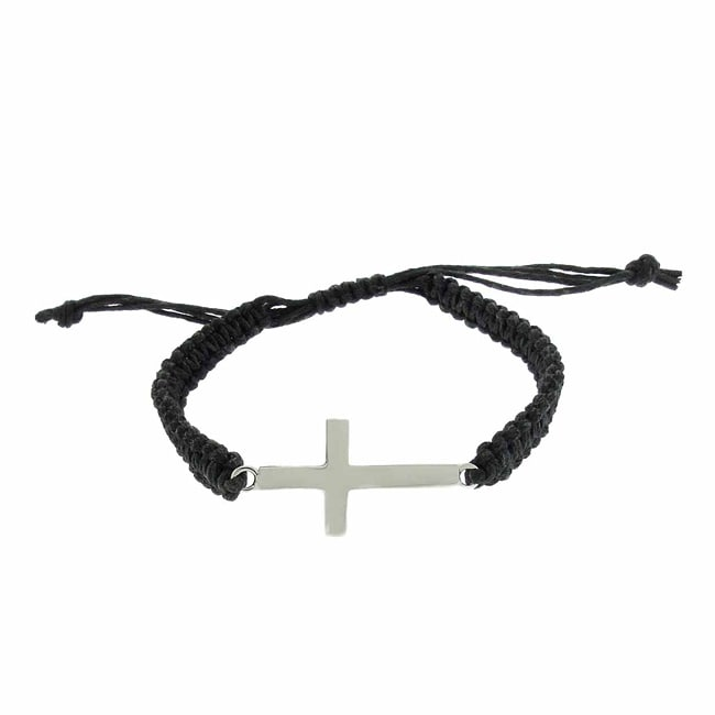 Dolce Giavonna Sterling Silver Sideways Cross Braided String Bracelet