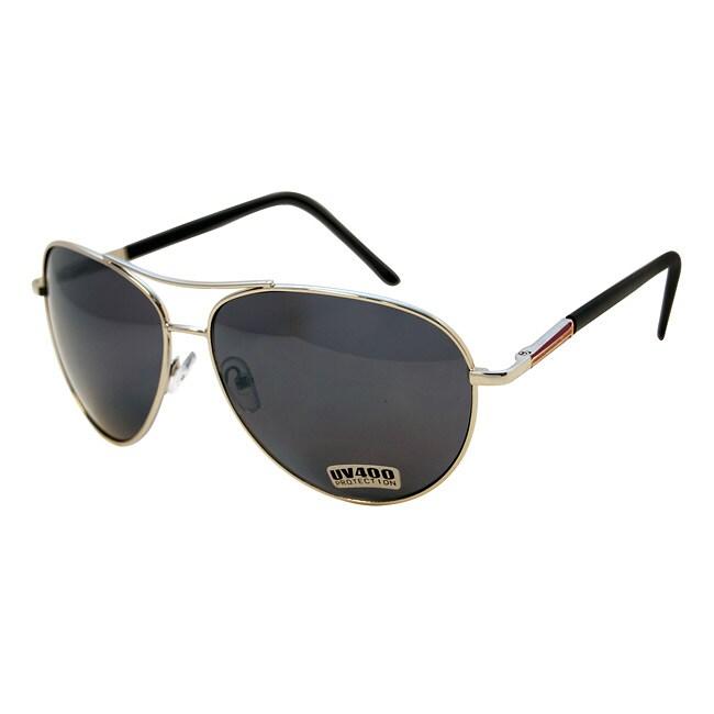 Women's Purple/ Gold Metal Aviator Sunglasses