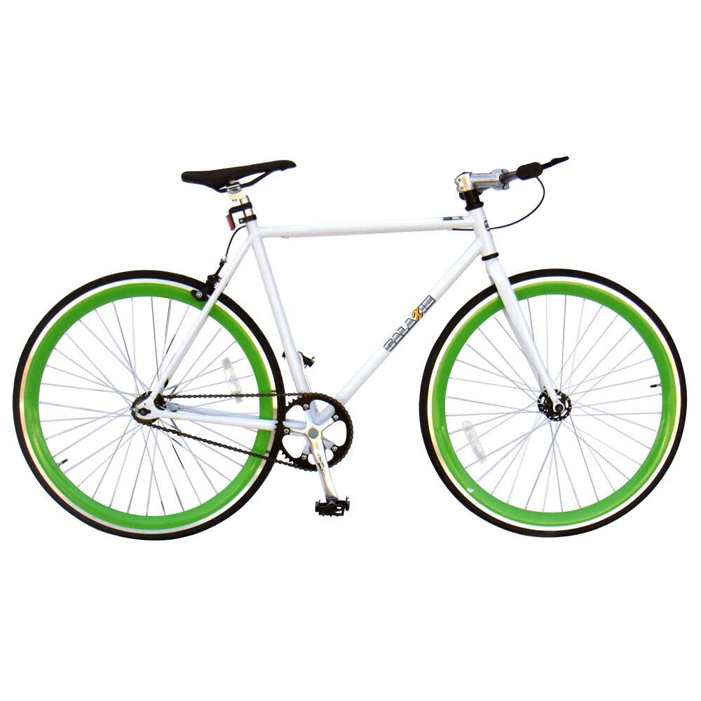 Galaxie Fixie Bike, White Frame/Green Wheels