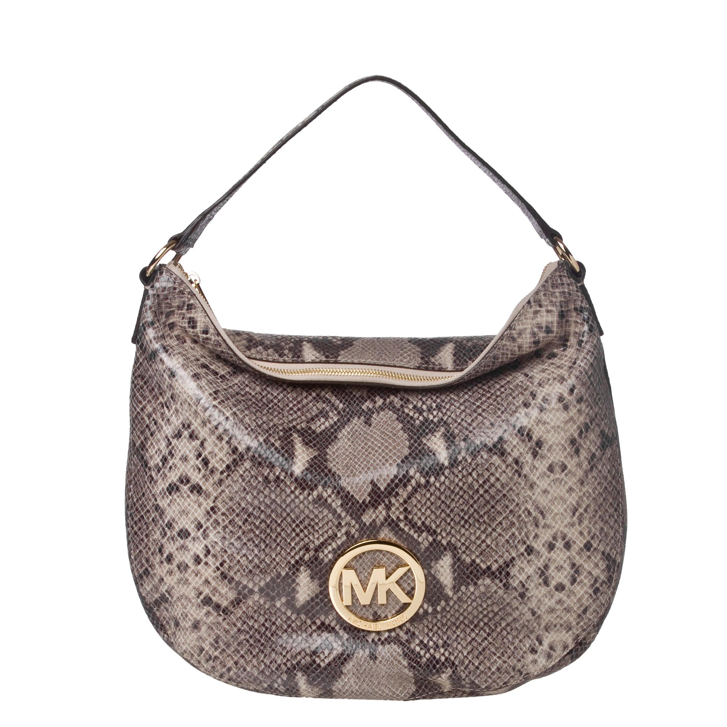 Michael Kors Sand Embossed Leather Hobo Bag