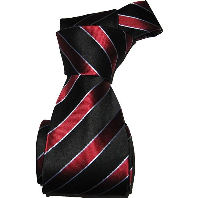 Dmitry Men's Cranberry Striped Italian Silk Necktie