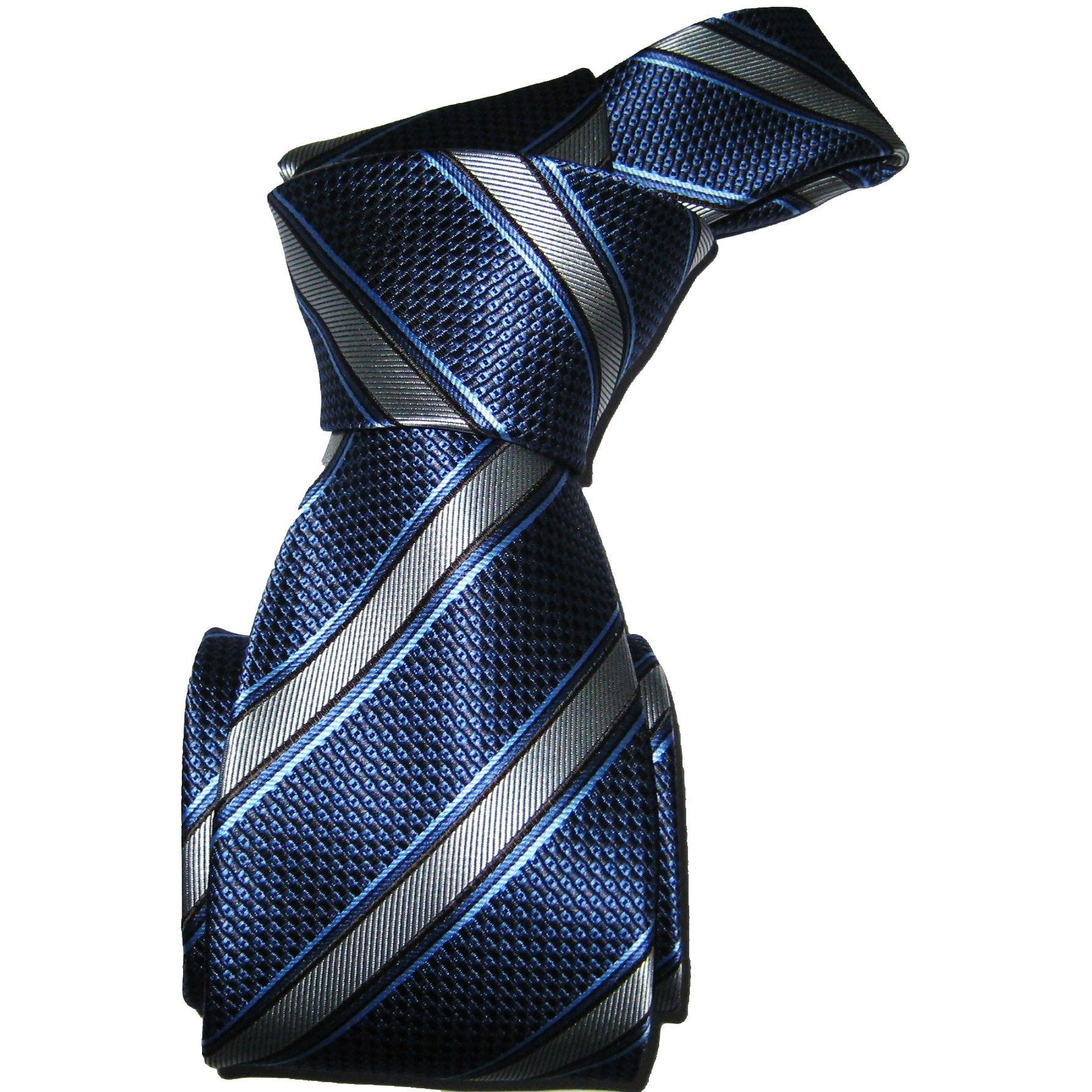 Dmitry Men's Blue Striped Italian Silk Necktie