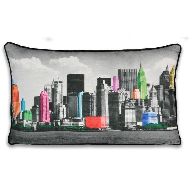 Neon NY Cityscape 12x20-inch Pillow
