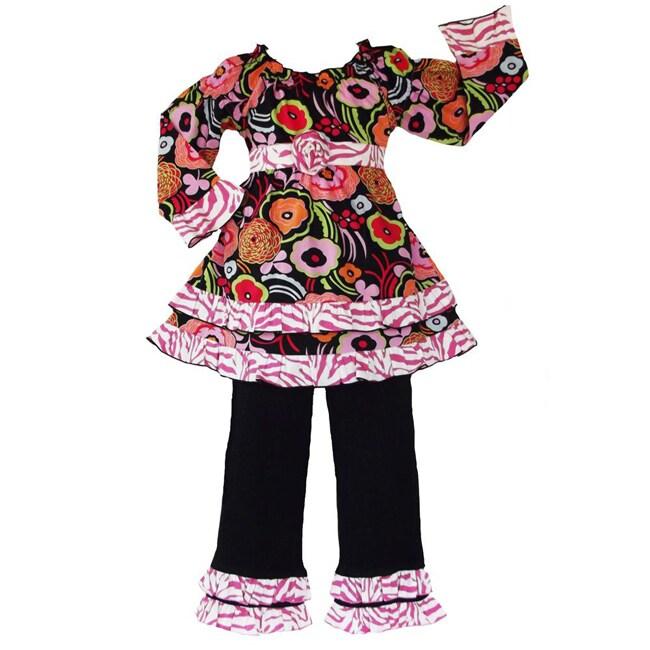 AnnLoren Girls' 2-piece Floral Zebra Outfit