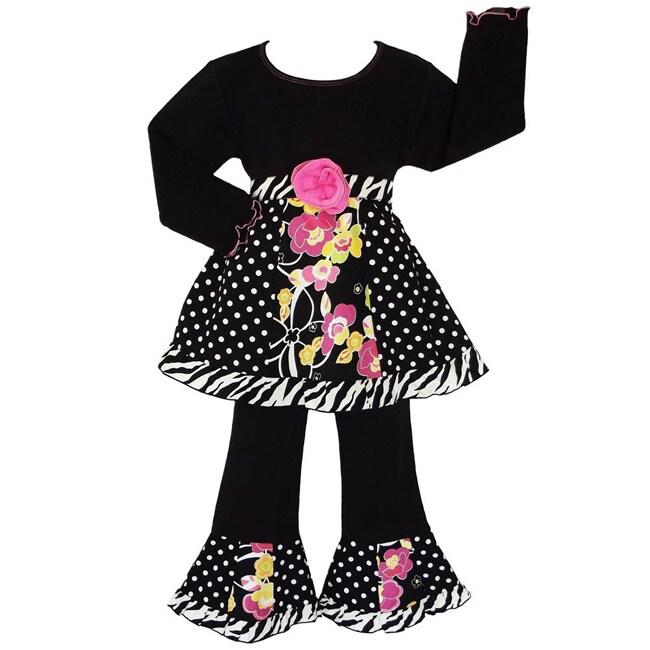 AnnLoren Girls' 2-piece Polka-dot Floral Zebra Outfit