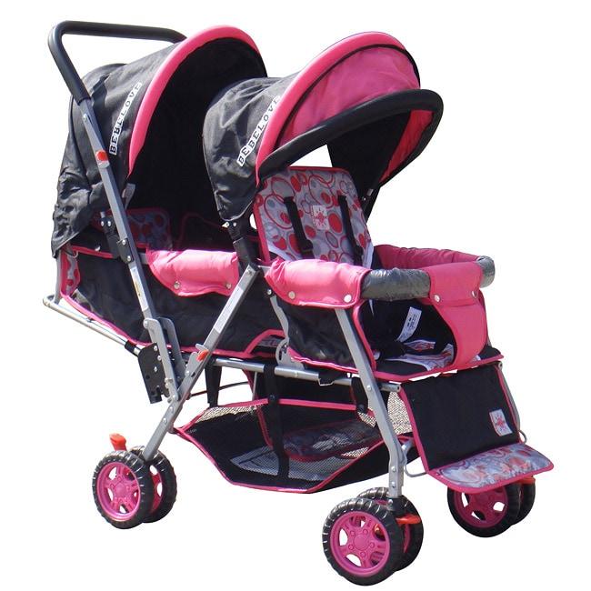 BeBeLove Tandem Stroller in Pink