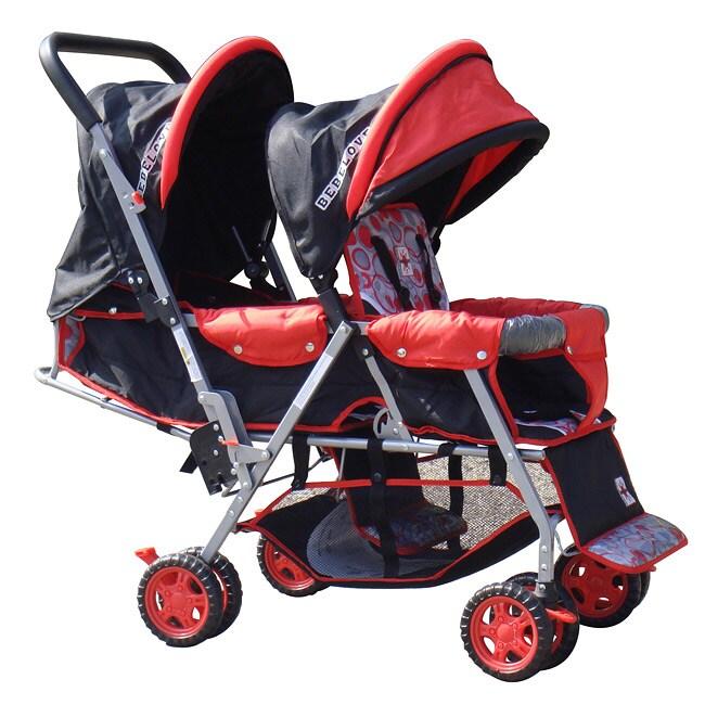 BeBeLove Tandem Stroller in Red