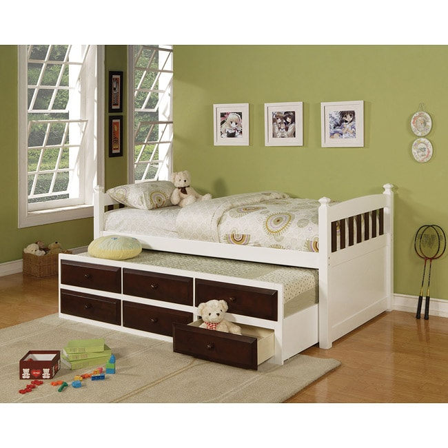 Lowell Sky Twin Bed and Trundle with Drawers