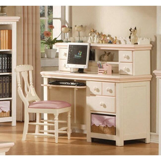 Cream/ Peach Desk with Hutch and Basket