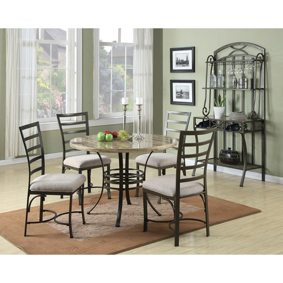 Val 5 Piece Faux Marble Top Pack Dining Set