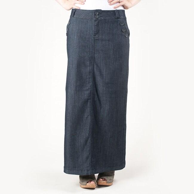 Tabeez Women's Sailor Style Long Denim Skirt