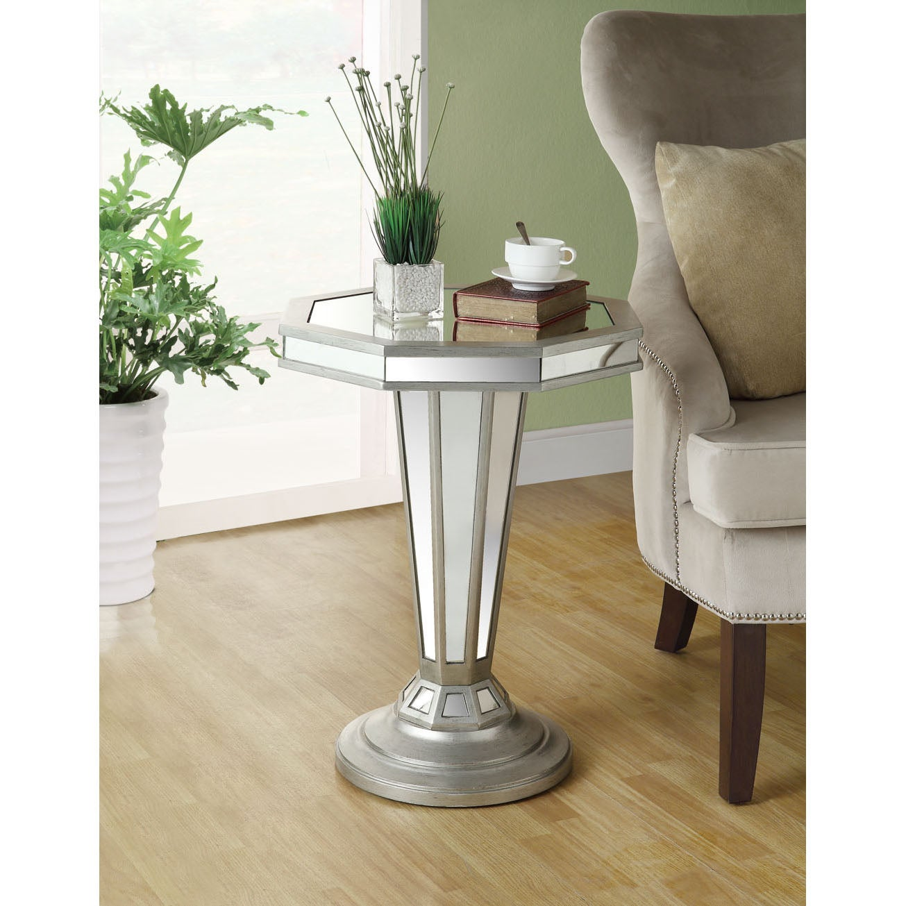 Mirrored 22-inch Octagon Shape Pedestal Accent Table