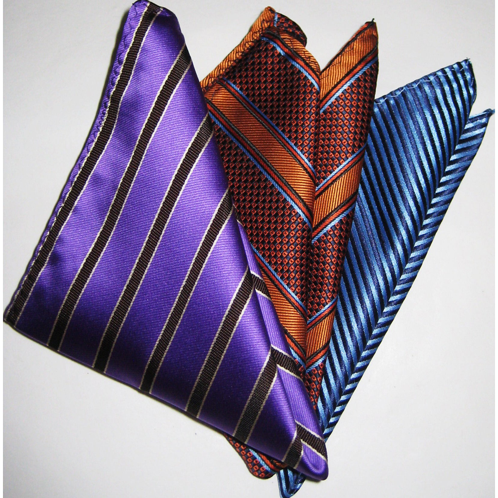 Dmitry Men's Italian Silk Pocket Squares (Pack of 3)