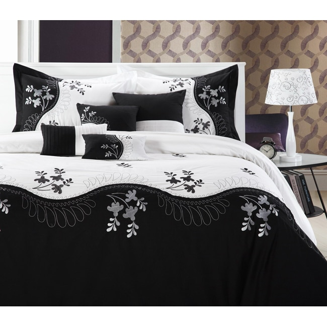 Rose Deco Black and White 8-piece Comforter Set