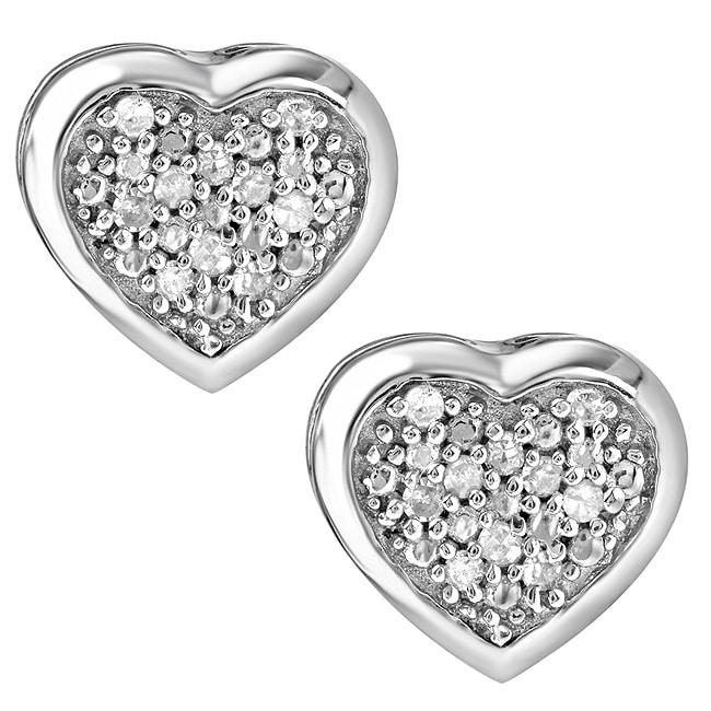 Sterling Silver 1/10ct White Diamond Heart Shaped Earrings