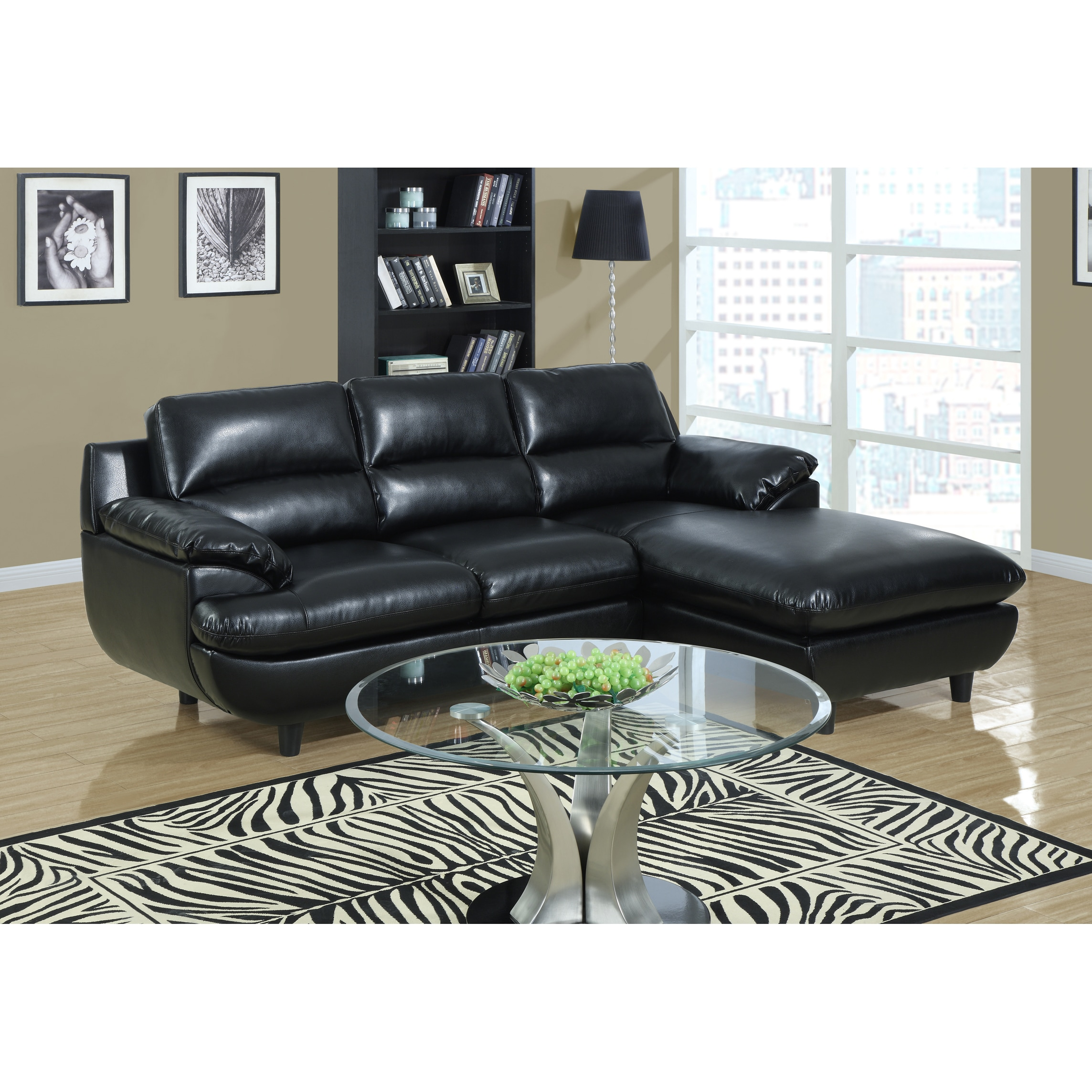 Black Bonded Leather Sectional
