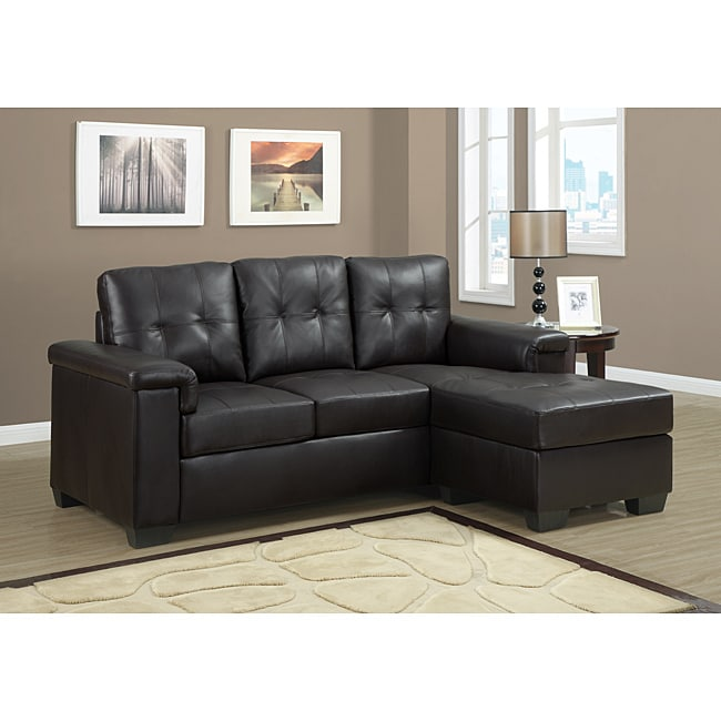 Dark Brown Bonded Leather Sectional