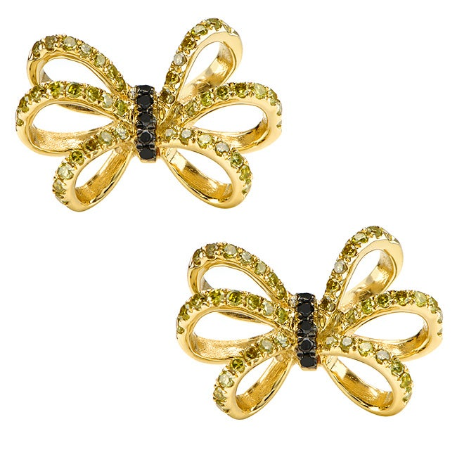 10k Gold 3/4ct TDW Black and Yellow Diamond Bow Earrings