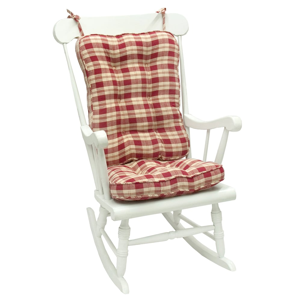 Red Rocking Chair Cushions ~ Red plaid standard rocking chair cushion