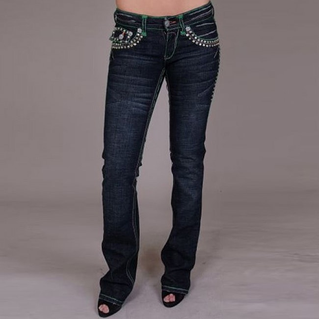 Laguna Beach Women's 'Laguna Beach' Green Stitch/ Crystal Jeans