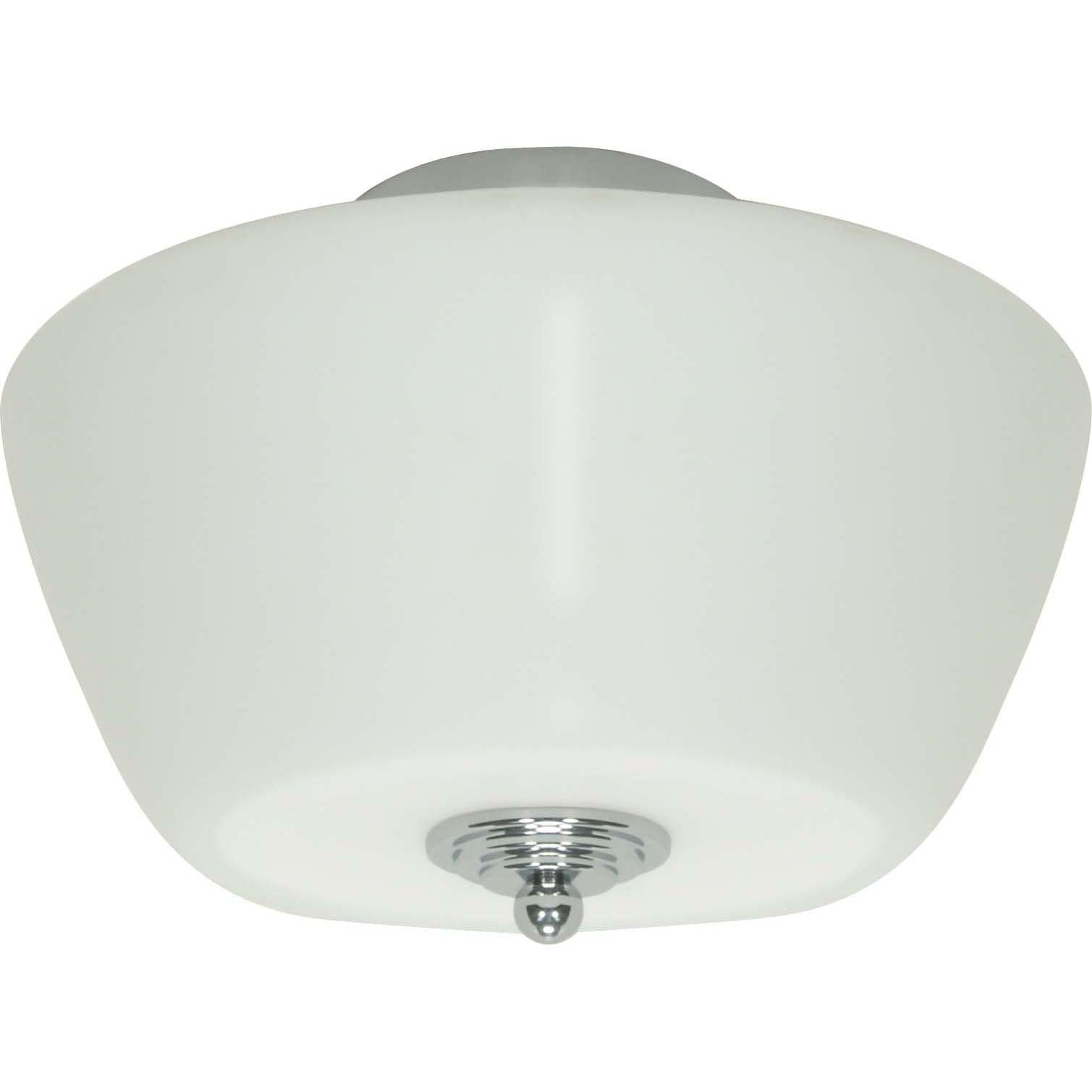 Galileo 3 Light Halogen Flush Mount Polished Chrome with Satin White Glass