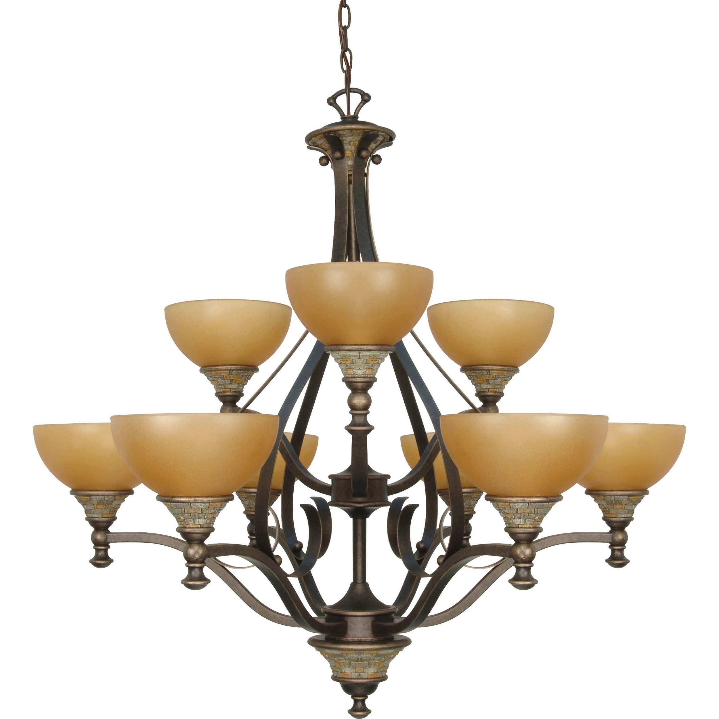 Rockport Tuscano 9 Light Chandelier Dorado Bronze with Sepia Colored Glass Shades
