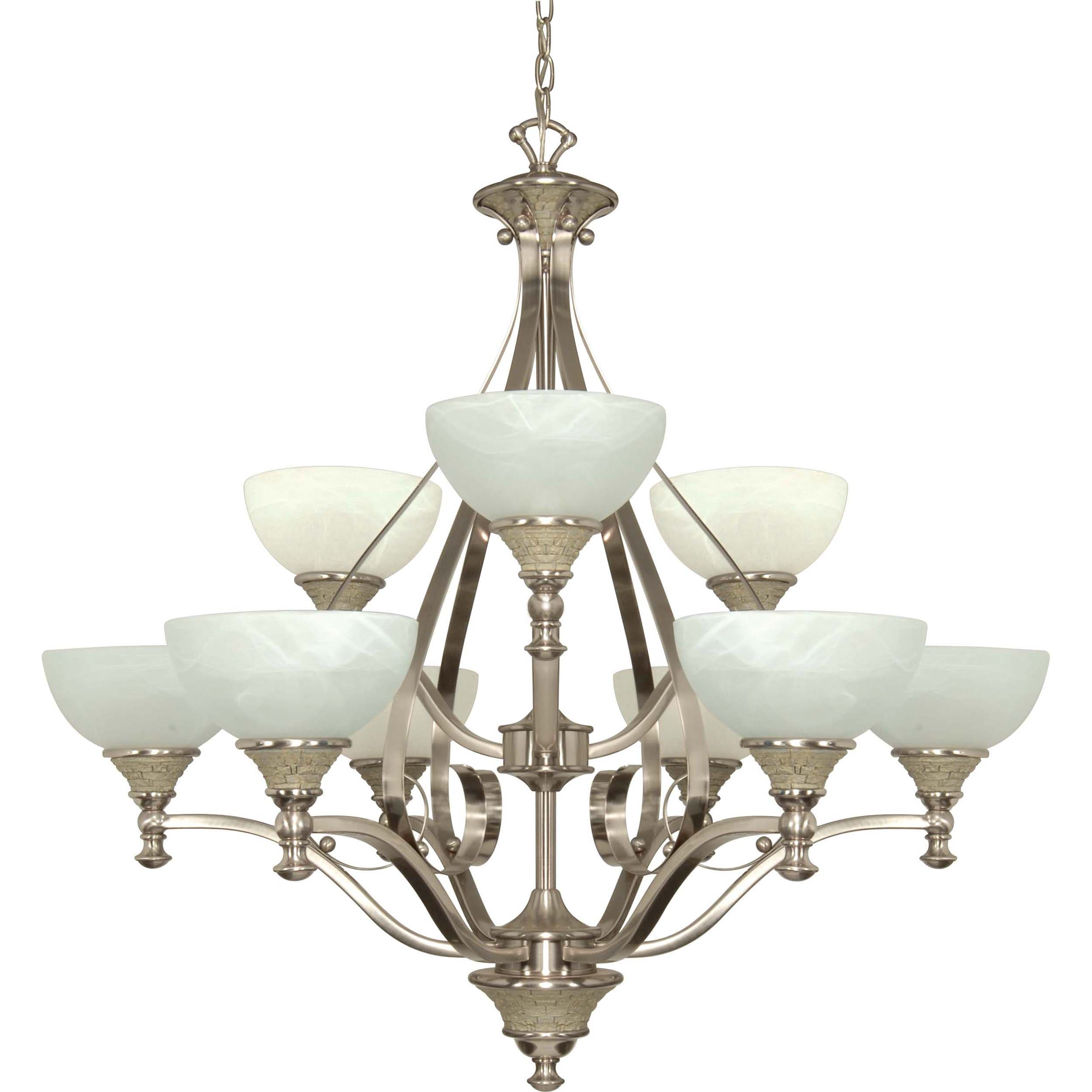 Rockport Milano 9 Light Chandelier Brushed Nickel with Alabaster Swirl Glass Shades