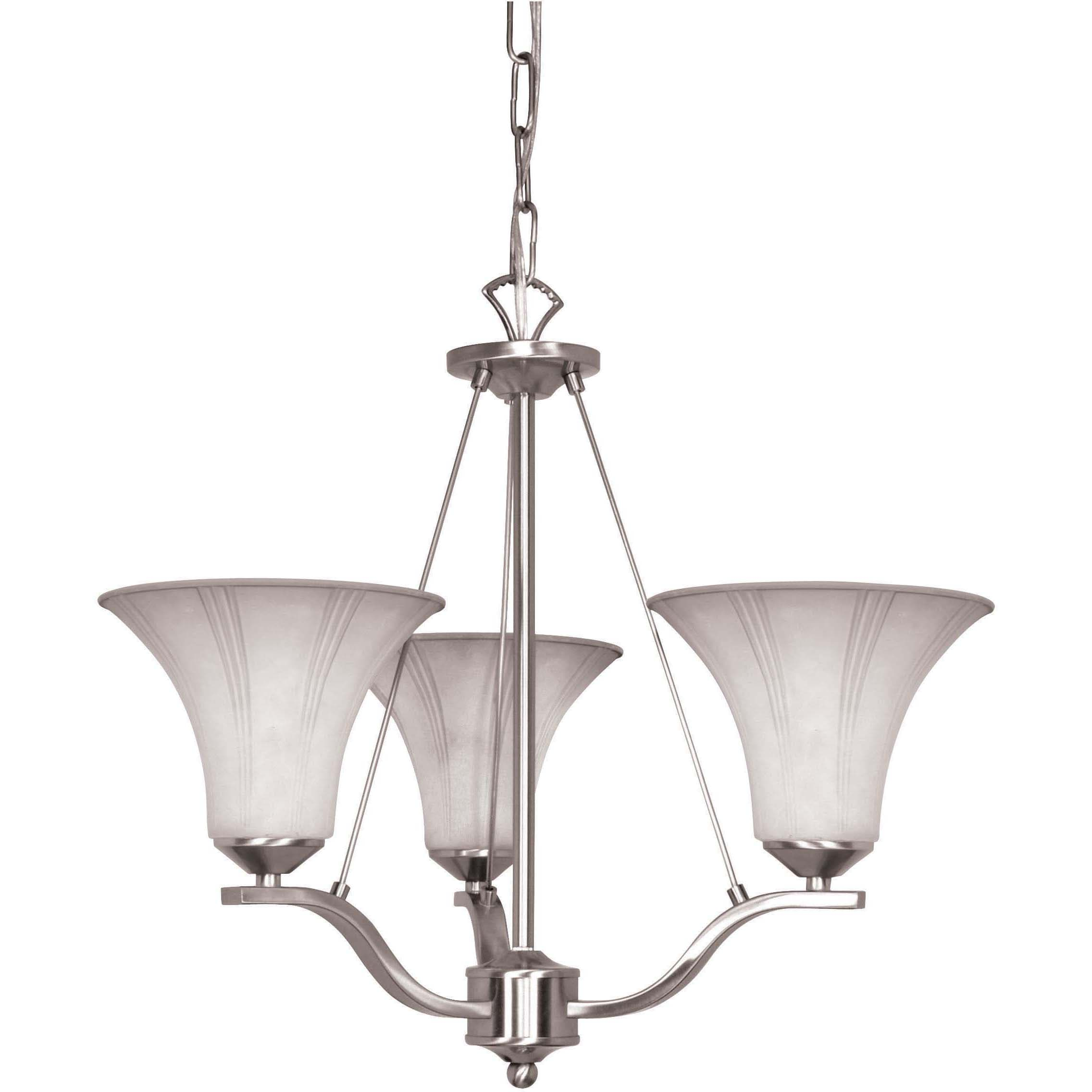 Delano 3 Light Mini Chandelier Brushed Nickel with Grey Suede Glass