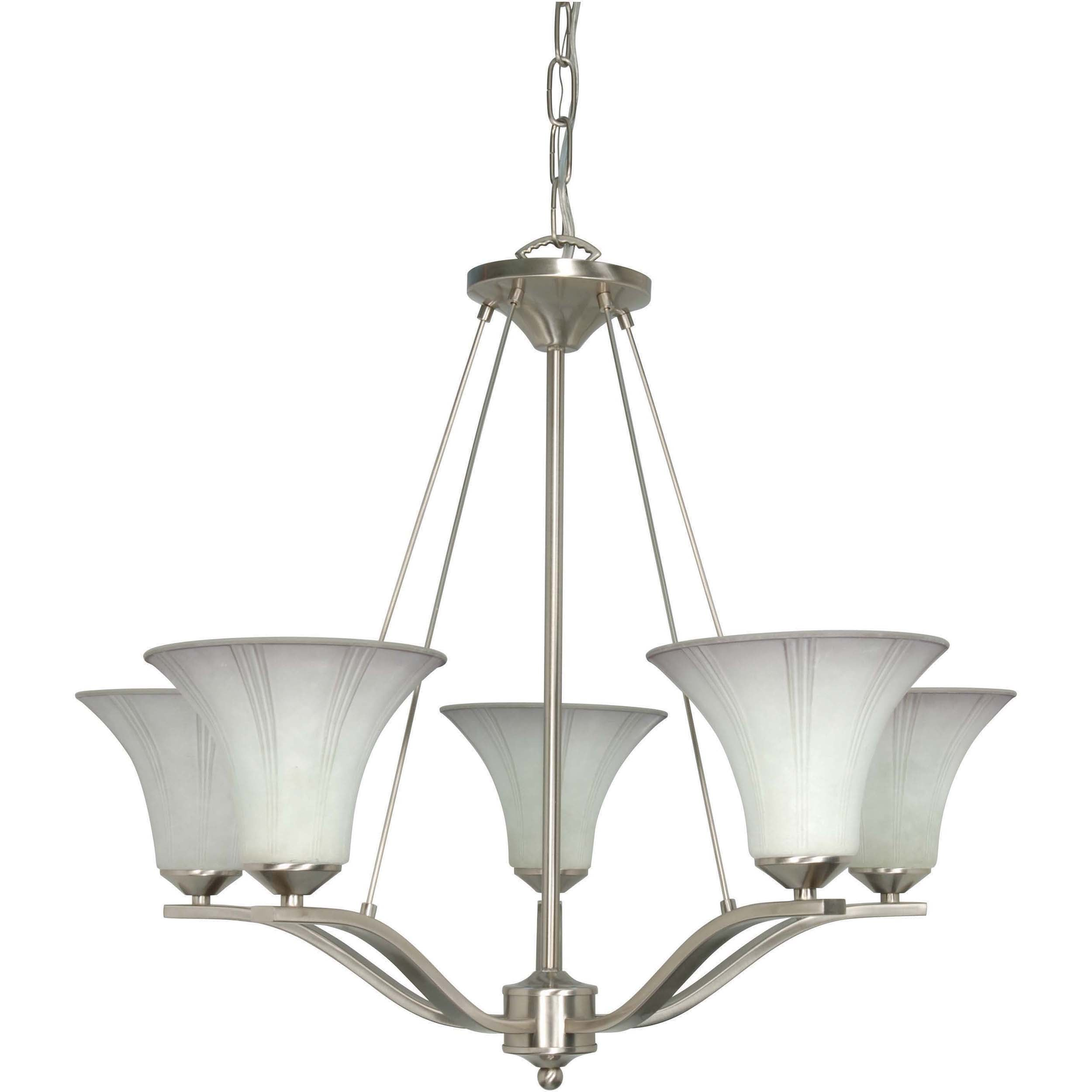 Delano 5 Light Chandelier Brushed Nickel with Grey Suede Glass