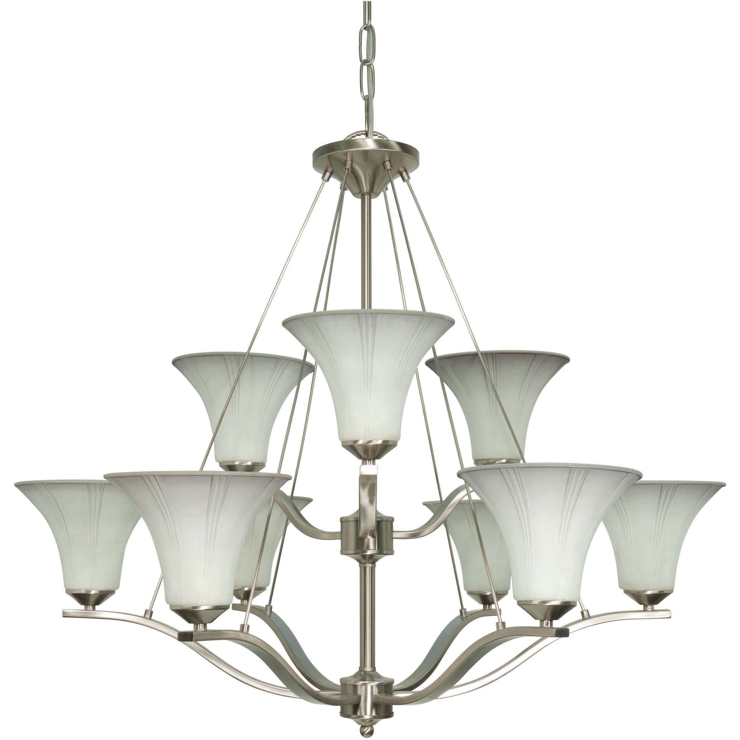Delano 9 Light Chandelier Brushed Nickel with Grey Suede Glass