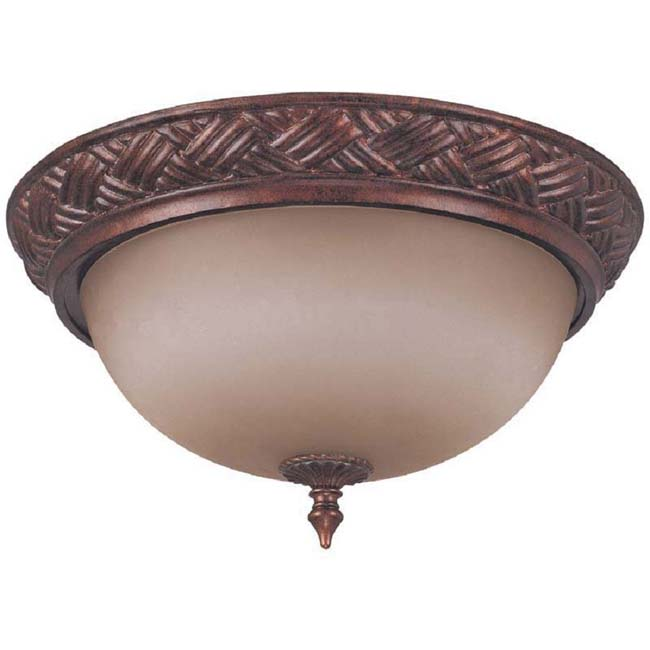 Wesley 3-light Dark Plum Bronze With Amber Bisque Glass Flush Dome