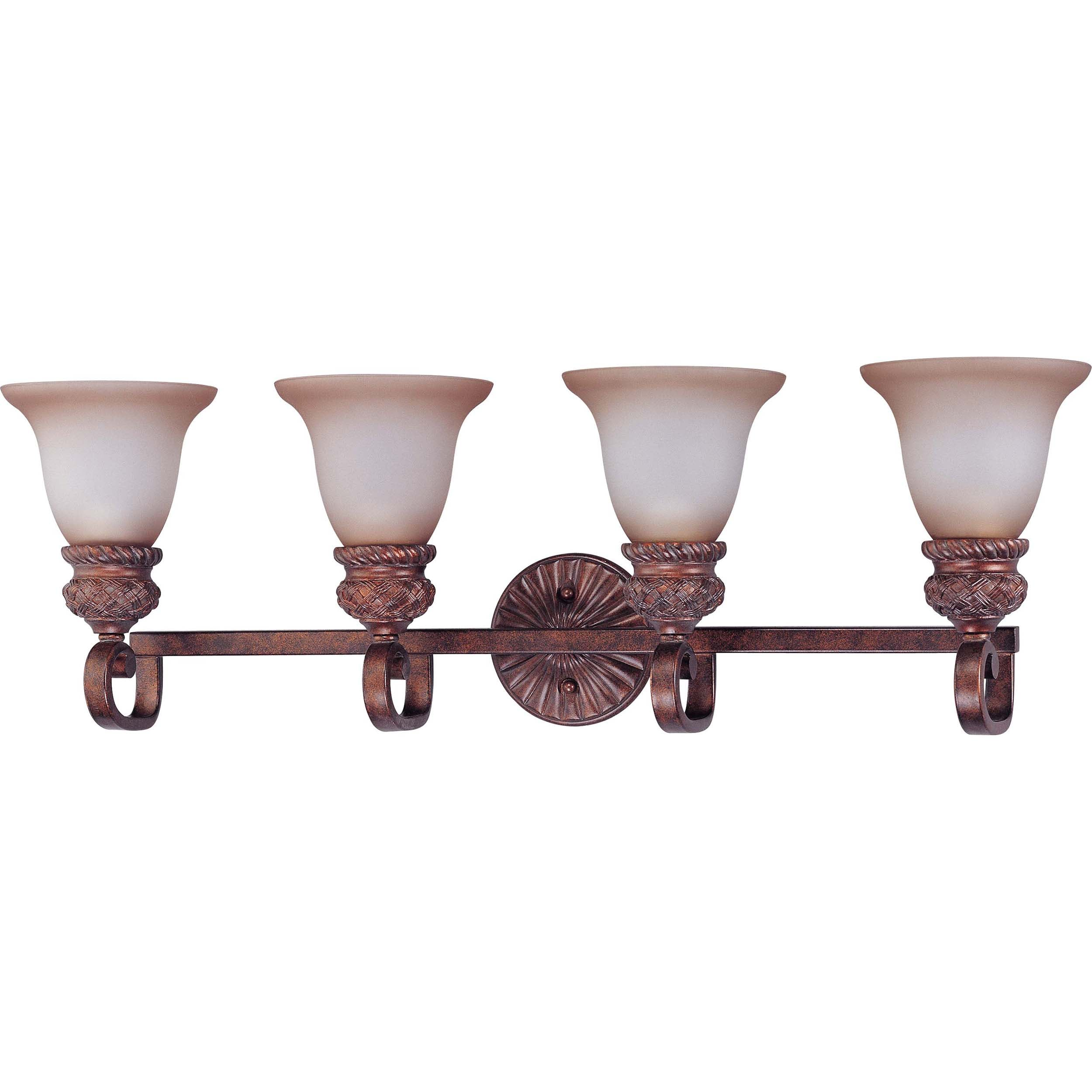 Wesley 4-light Dark Plum Bronze With Amber Bisque Glass Vanity