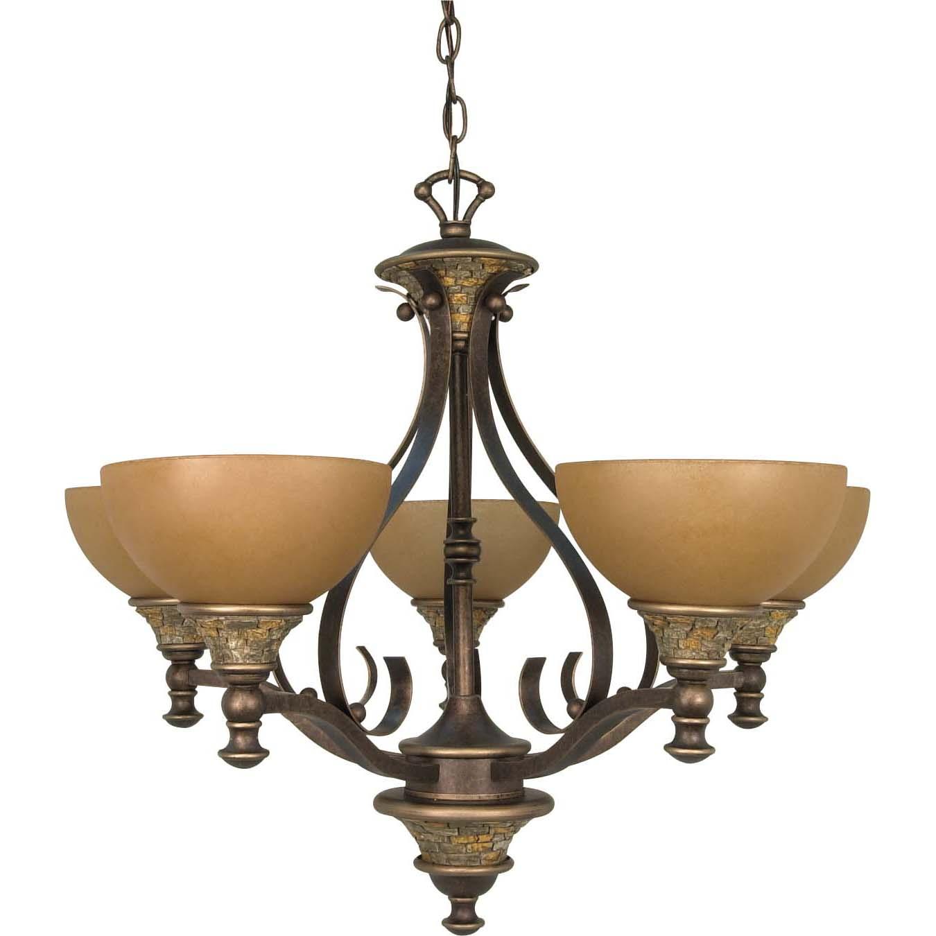 Rockport Tuscano 5-light Sepia Glass Dorado Bronze Chandelier
