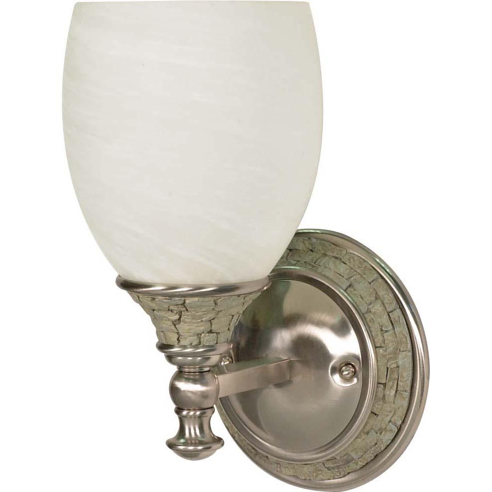 Rockport Milano Alabaster Glass Brushed Nickel 1-Light Vanity Wall Sconce - 14352812 - Overstock ...