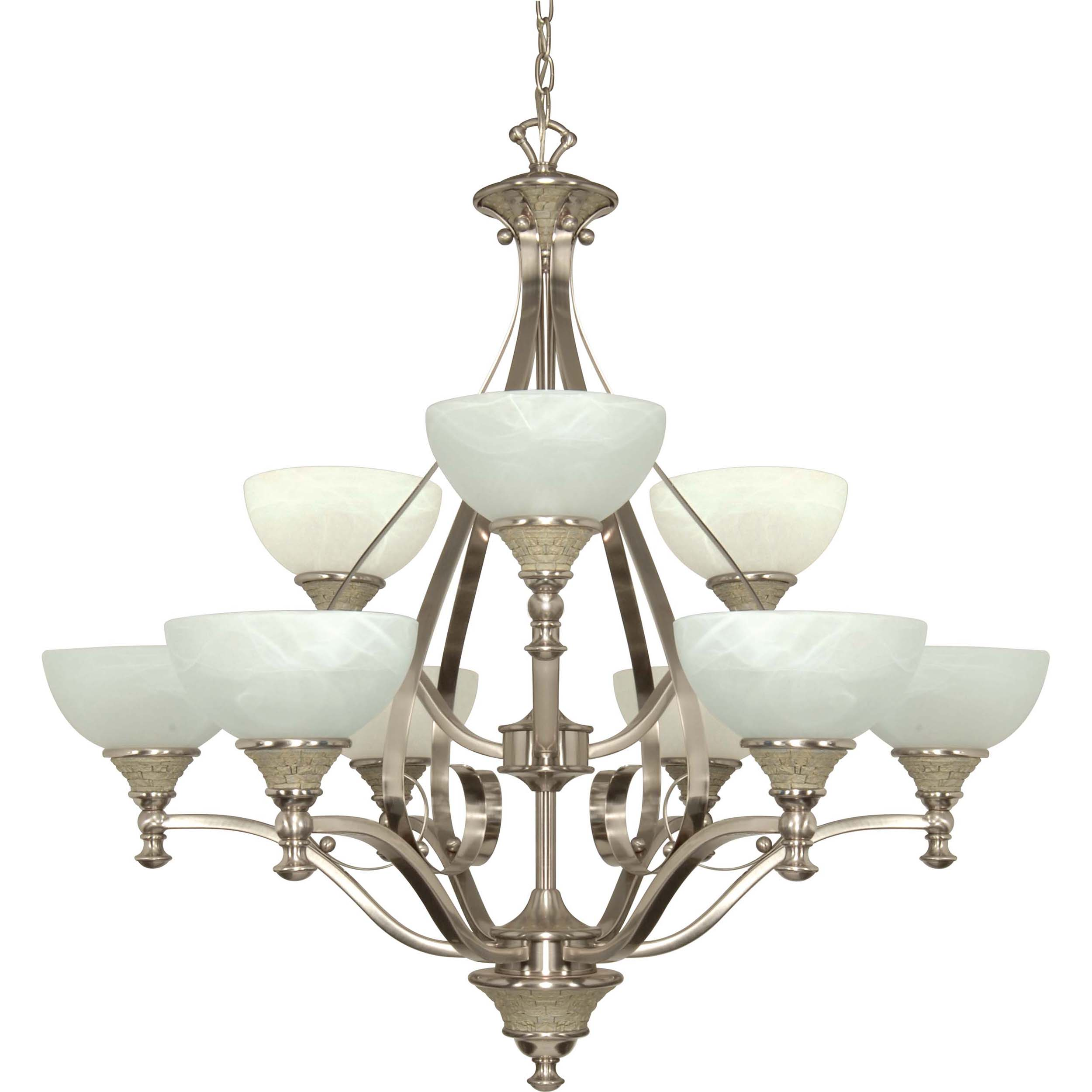Rockport Milano Alabaster Swirl Glass Brushed Nickel 9-light Chandelier