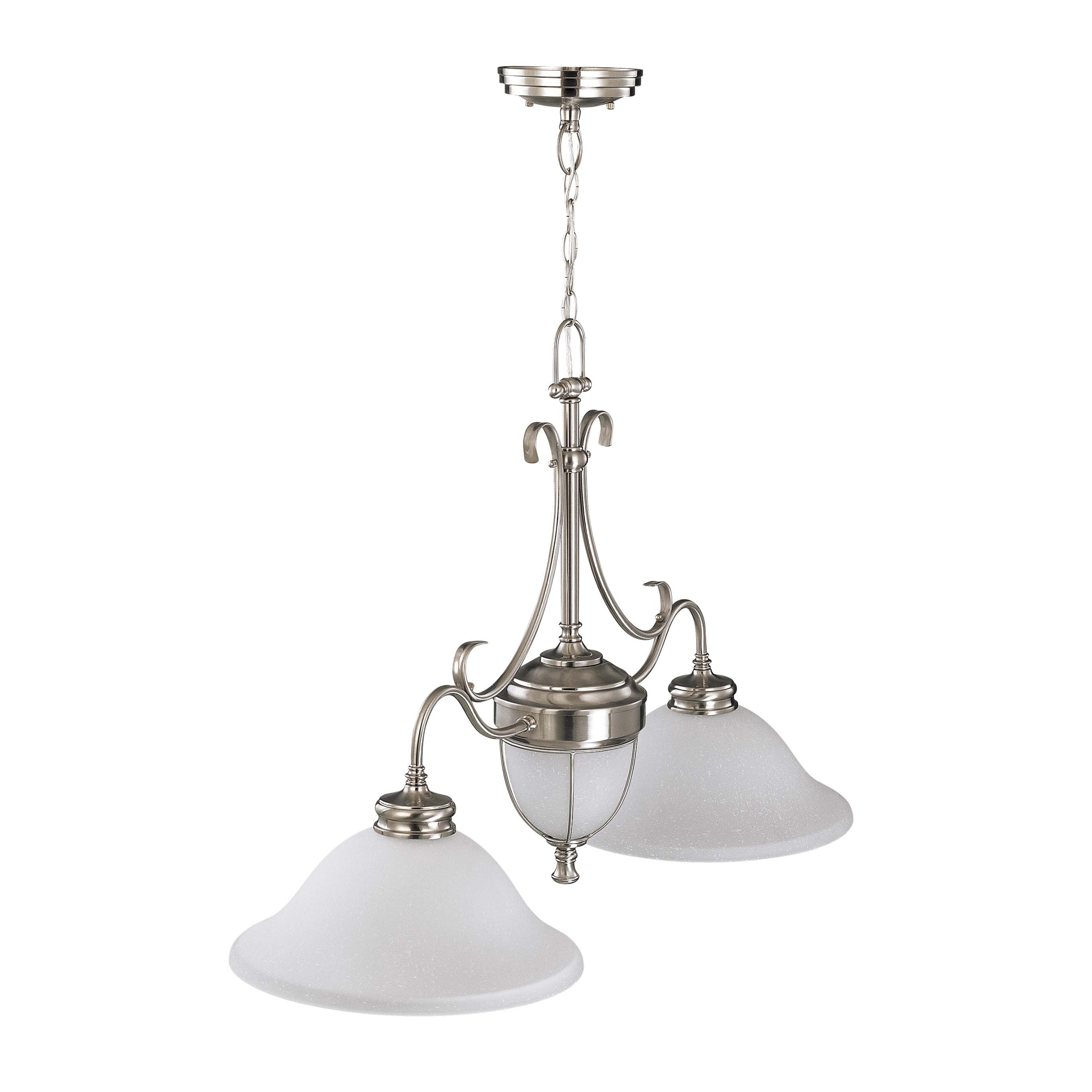 Salem 2 Light Brushed Nickel With Frosted Linen Glass Trestle