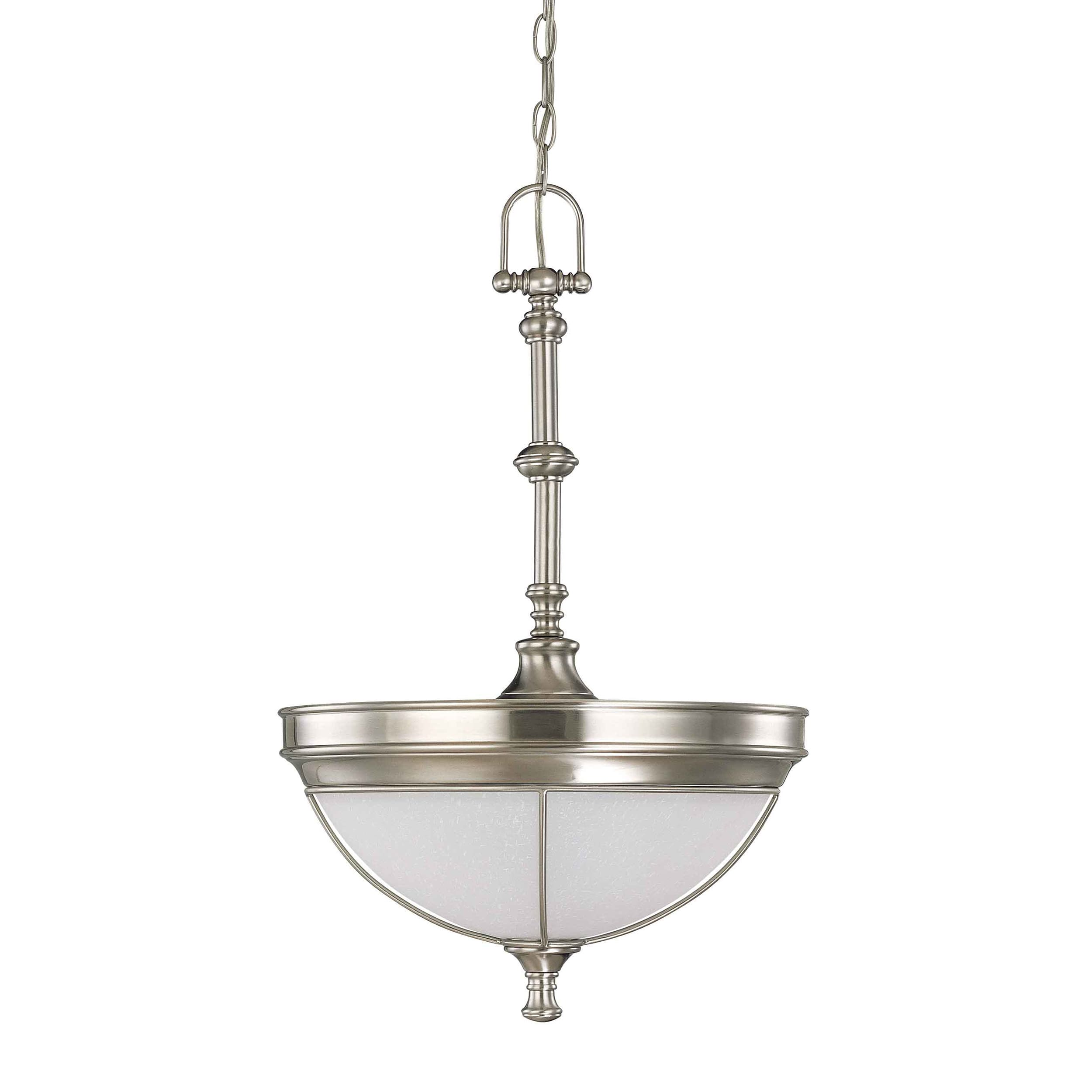 Salem 3 Light Brushed Nickel With Frosted Linen Glass Pendant