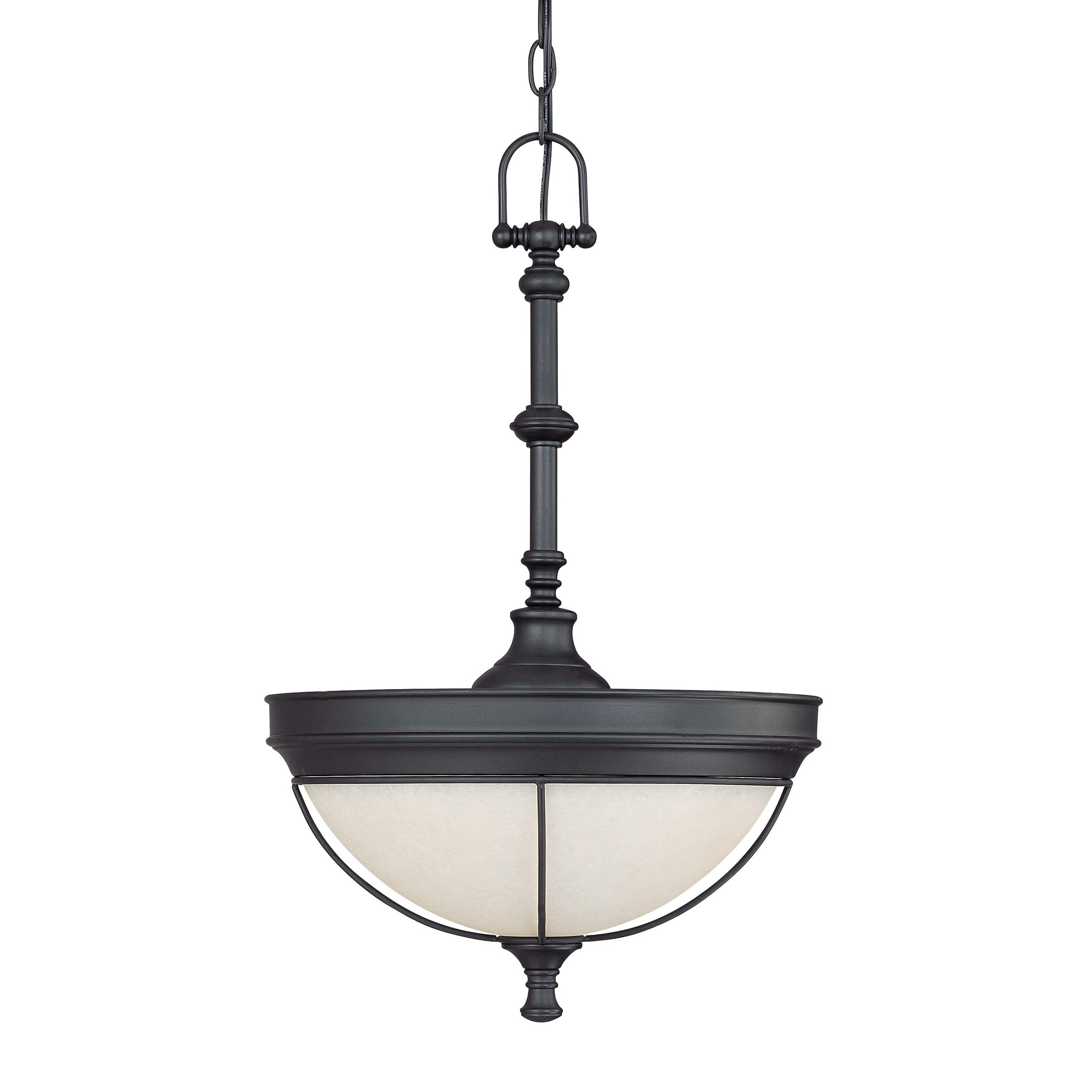 Salem 3 Light Aged Bronze With Biscotti Glass Pendant