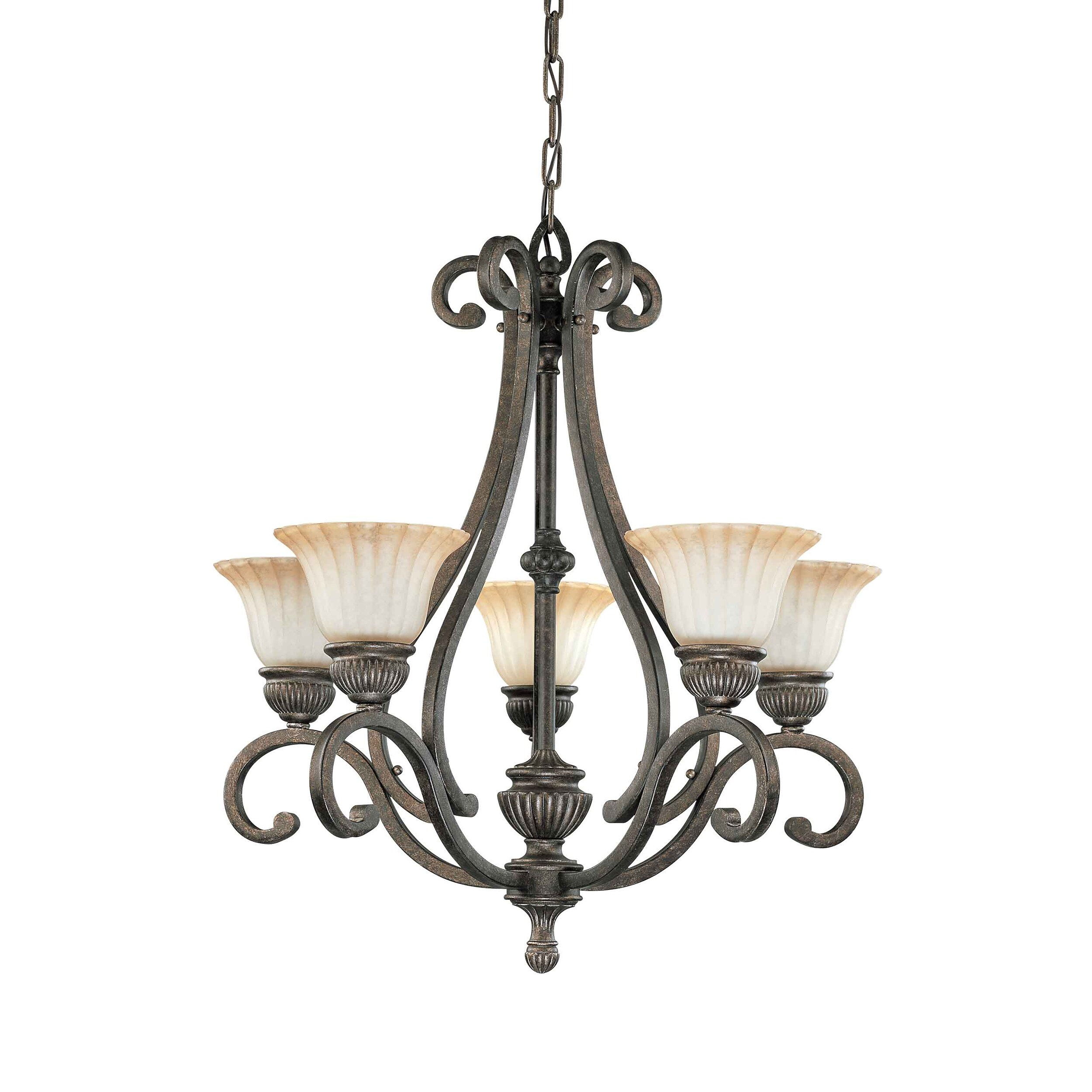 Fortunata 5 Light Lisbon Bronze With Corvo Amber Wash Glass Arm Up Chandelier