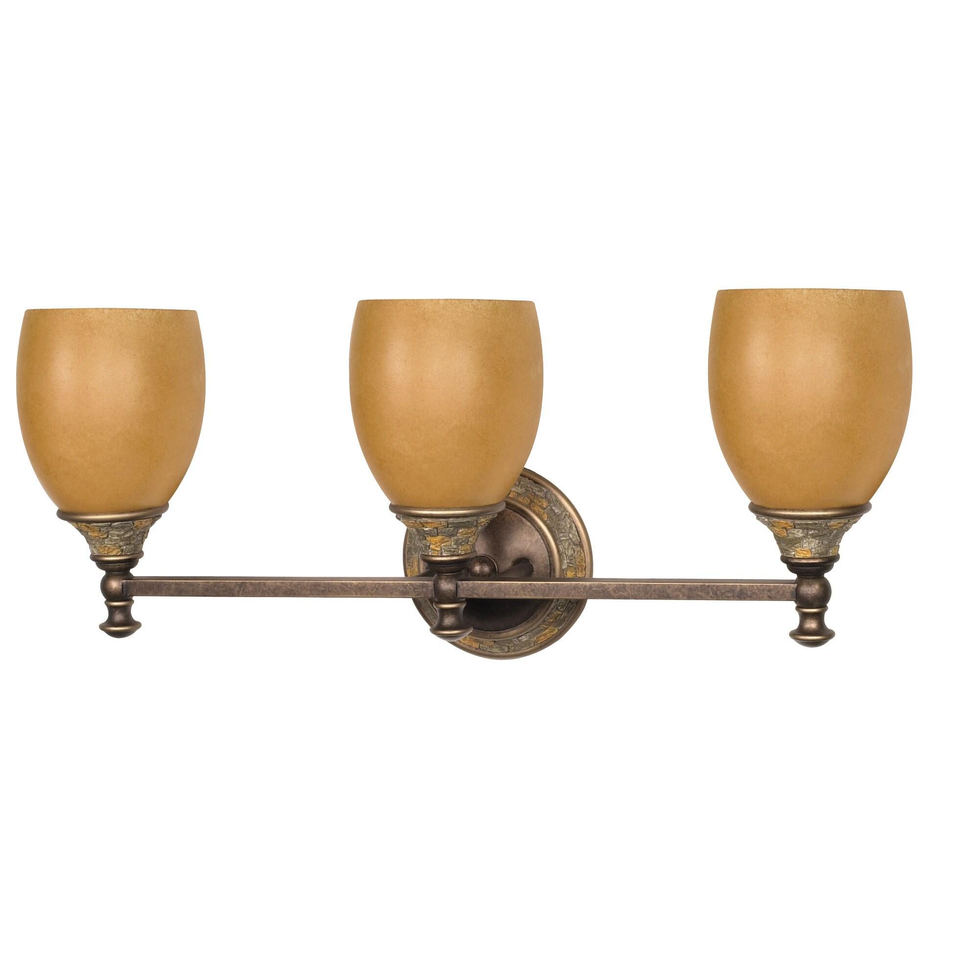 Rockport Tuscano 3 Light Dorado Bronze With Sepia Colored Glass Shades Vanity