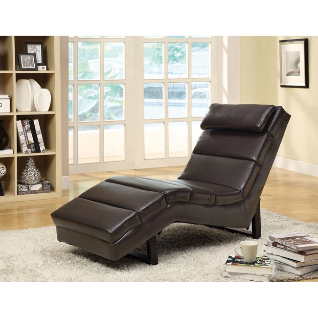 Dark brown leather look chaise lounger 14354959 for Bella chaise dark brown