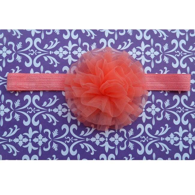 Salmon Pink Chiffon Flower Headband