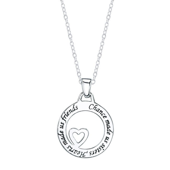 Silver 'Chance Made Us Sisters, Hearts Made Us Friends' Round Necklace