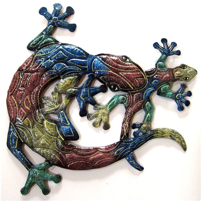 Recycled Steel Drum Multicolored Lizards Wall Art (Haiti)