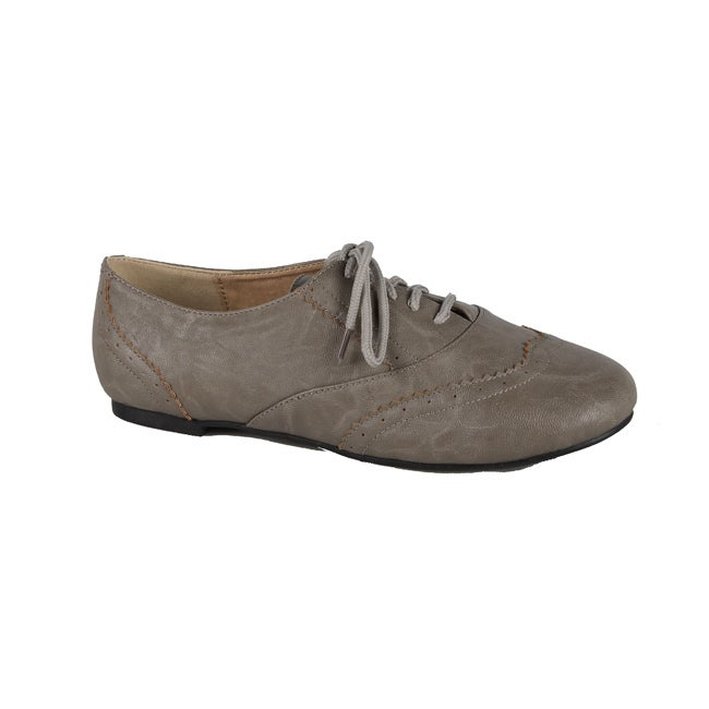 Modesta by Beston Women's 'Maya-04' Grey Lace-up Oxfords