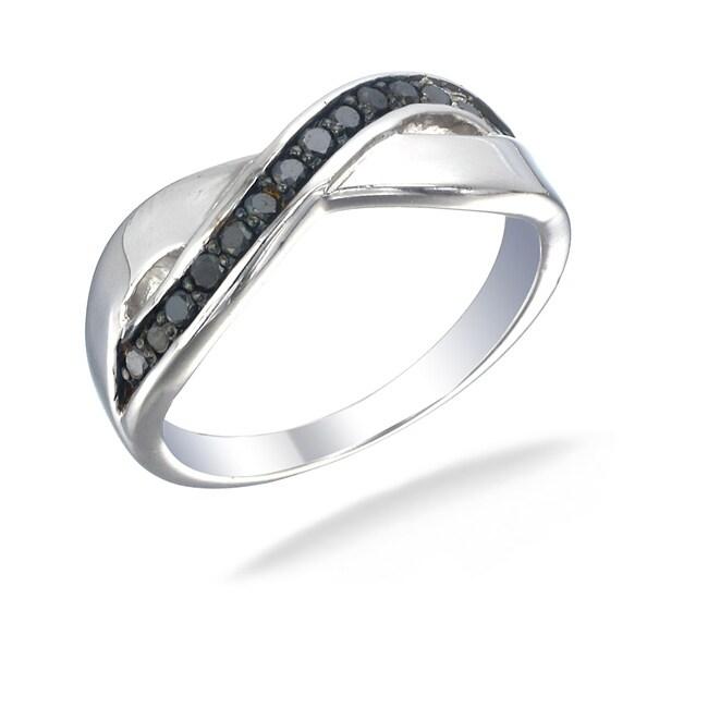 Sterling Silver 1/4ct TDW Black Diamond Crossover Ring