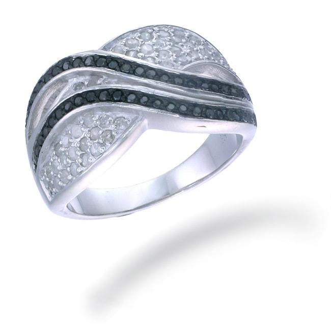 Sterling Silver 3/4ct TDW Black and White Diamond Ring (I-J, I2-I3)